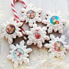 Пряники снежинки новогодние