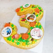 Торт цифра 3 для мальчика