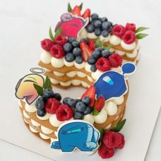 Торт Амонг Ас цифра 5