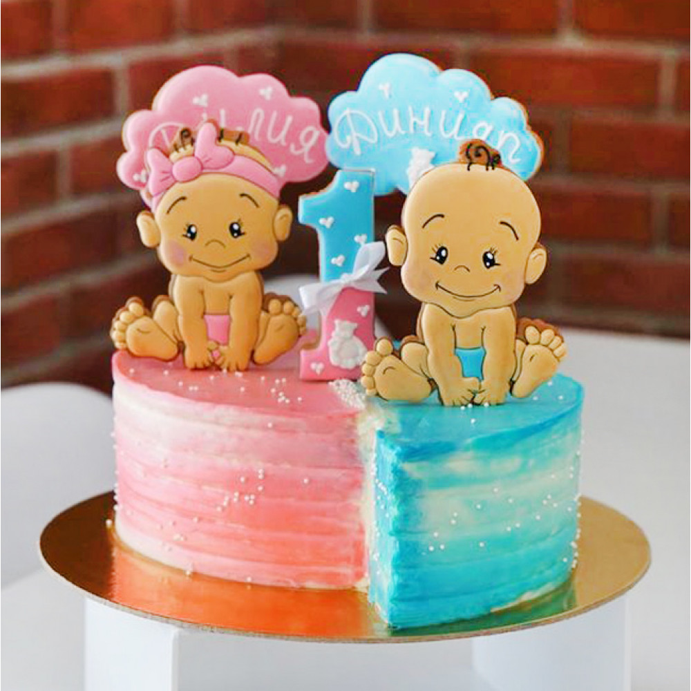 Торт для близнецов без мастики