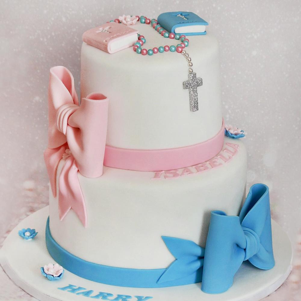 Торт на крещение двойняшек