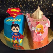 Торт на день рождения двойни