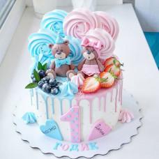 Торт на год двойняшкам девочке и мальчику