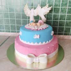 Торт на крестины двойняшек