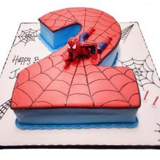 Торт цифра с человеком пауком