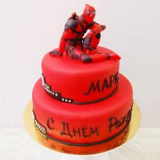 Двухъярусный торт Deadpool