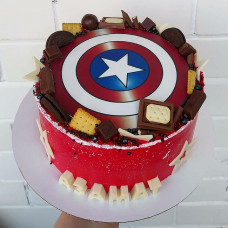 Торт со знаком Капитан Америка