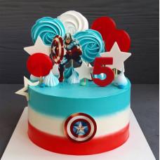 Торт Капитан Америка на 5 лет