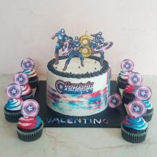 Торт с капкейками Капитан Америка