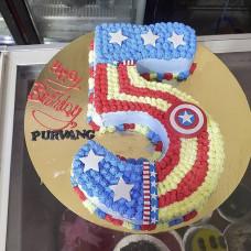 Торт цифра 5 Капитан Америка