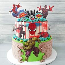 Двухъярусный торт Супермен, Хал, Спайдермен