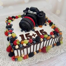 Торт с фигуркой фотоаппарата