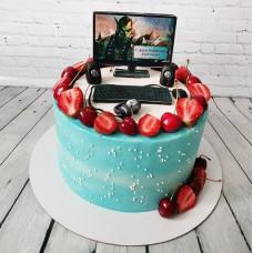 Торт с компьютером и наушниками