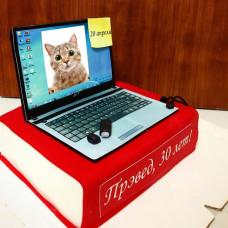 Торт в виде книги с ноутбуком