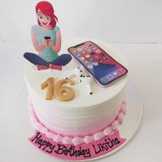 Торт девушка с телефоном