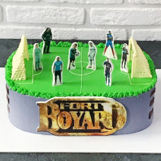 Торт футбольное поле и эмблема форта Боярд