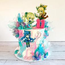 Торт на 11 лет девочке с персонажами из Геншин Импакт