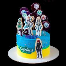 Торт на день рождения genshin