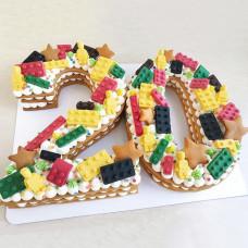 Медовый торт цифра с Лего