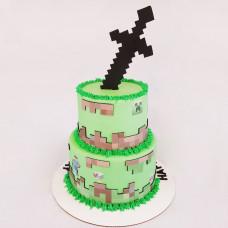 Двухъярусный торт Майнкрафт