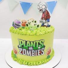 Страшный торт с зомби и растениями