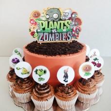 Торт с капкейками Зомби против растений