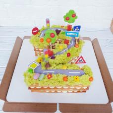 Торт в виде цифры 2 для мальчика