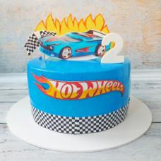 Тортик на 2 годика с машинкой Хот Вилс