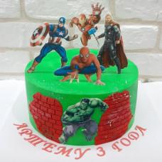 Торт на 3 годика с супергероями