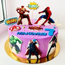 Торт с супергероями на 7 лет