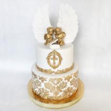 Двухъярусный торт на крестины