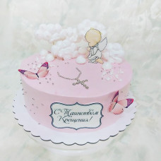 Торт на крещение девочки без мастики
