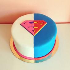 Торт на определение пола в стиле супергероев