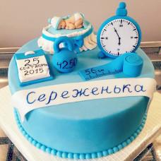 Торт на рождение ребенка с метрикой