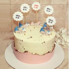 Торт маме с датами рождения детей