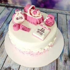 Мастичный торт на рождение ребенка