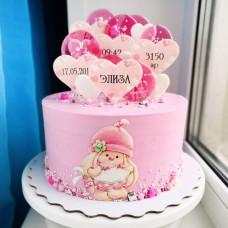 Торт новорожденной девочке с метрикой
