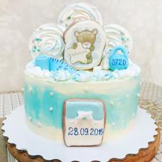 Торт на рождение ребенка с мишкой