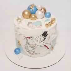 Торт на рождение ребенка с аистом и младенцем