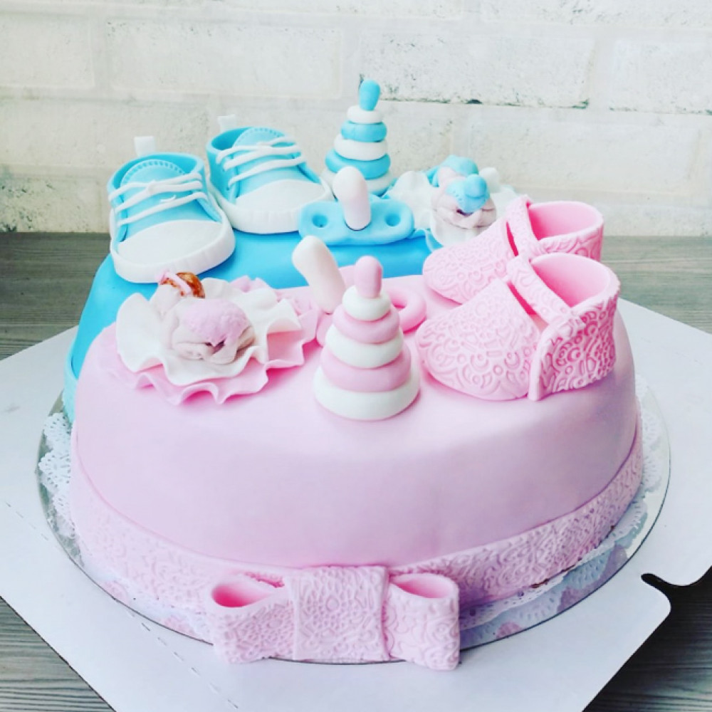 Торт на рождение мальчика и девочки