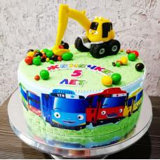 Торт с экскаватором и автобусом Тайо