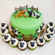 Торт с капкейками Барашек Шон