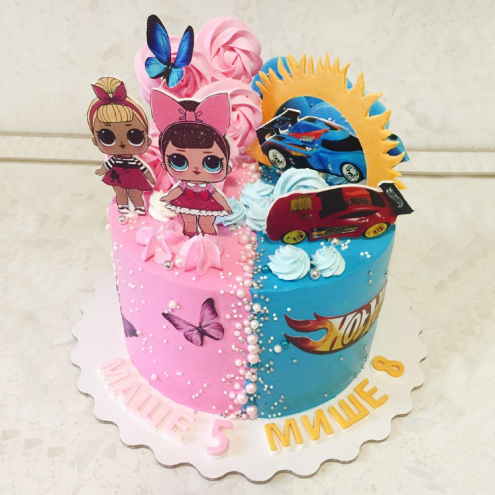 Торт Хот Вилс и куклы Лол