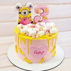 Торт с миньоном для девочки на 3 года