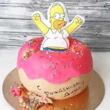 Торт в виде пончика с Гомером Симсоном