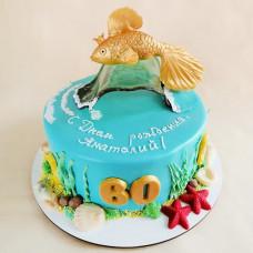 Торт на юбилей 60 лет с золотой рыбкой