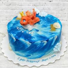 Торт на день рождения золотая рыбка