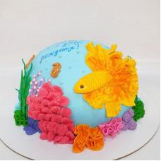 Торт золотая рыбка в аквариуме
