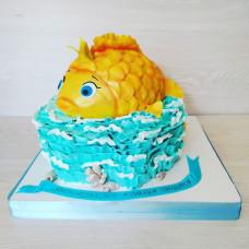 Торт из мастики золотая рыбка