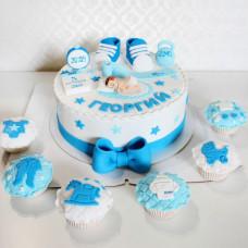 Торт с капкейками на рождение мальчика